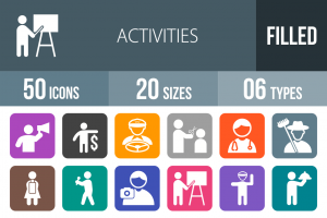 50 Activities Flat Round Corner Icons - Overview - IconBunny
