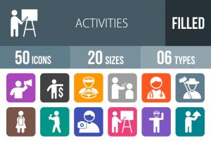 50 Activities Flat Round Corner Icons - Overview - IconBunny