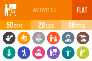 50 Activities Flat Round Icons - Overview - IconBunny