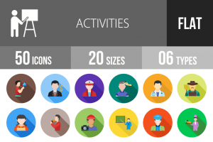 50 Activities Flat Shadowed Icons - Overview - IconBunny