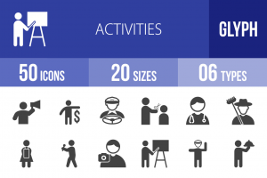 50 Activities Glyph Icons - Overview - IconBunny