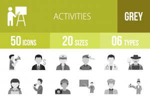 50 Activities Greyscale Icons - Overview - IconBunny