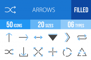 50 Arrows Blue & Black Icons - Overview - IconBunny