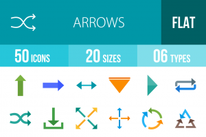 50 Arrows Flat Multicolor Icons - Overview - IconBunny
