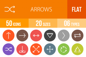 50 Arrows Flat Round Icons - Overview - IconBunny