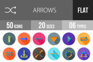 50 Arrows Flat Shadowed Icons - Overview - IconBunny