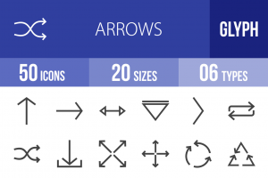50 Arrows Glyph Icons - Overview - IconBunny