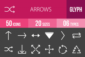 50 Arrows Glyph Inverted Icons - Overview - IconBunny