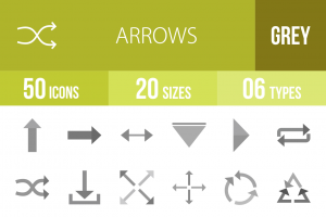 50 Arrows Greyscale Icons - Overview - IconBunny