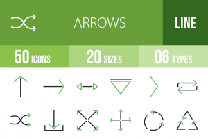 50 Arrows Line Green & Black Icons - Overview - IconBunny
