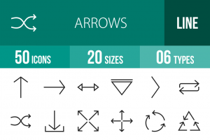 50 Arrows Line Icons - Overview - IconBunny