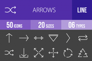 50 Arrows Line Inverted Icons - Overview - IconBunny