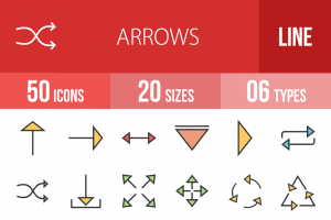 50 Arrows Line Multicolor Filled Icons - Overview - IconBunny