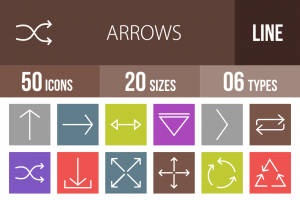 50 Arrows Line Multicolor B/G Icons - Overview - IconBunny