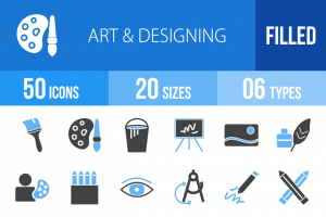 50 Art & Designing Blue & Black Icons - Overview - IconBunny
