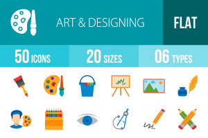 50 Art & Designing Flat Multicolor Icons - Overview - IconBunny