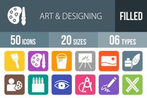 50 Art & Designing Flat Round Corner Icons - Overview - IconBunny
