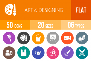 50 Art & Designing Flat Round Icons - Overview - IconBunny