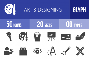 50 Art & Designing Glyph Icons - Overview - IconBunny