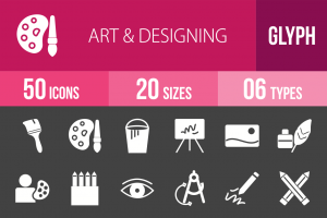50 Art & Designing Glyph Inverted Icons - Overview - IconBunny