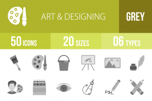 50 Art & Designing Greyscale Icons - Overview - IconBunny