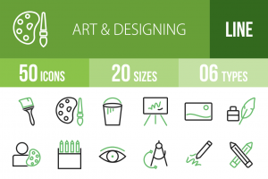 50 Art & Designing Line Green & Black Icons - Overview - IconBunny