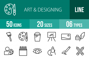 50 Art & Designing Line Icons - Overview - IconBunny