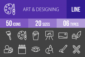 50 Art & Designing Line Inverted Icons - Overview - IconBunny