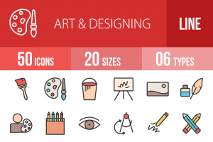 50 Art & Designing Line Multicolor Filled Icons - Overview - IconBunny