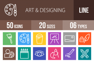 50 Art & Designing Line Multicolor B/G Icons - Overview - IconBunny