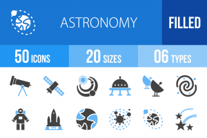 50 Astronomy Blue Black Icons - Overview - IconBunny