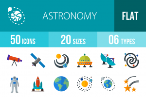 50 Astronomy Flat Multicolor Icons - Overview - IconBunny