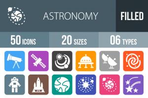 50 Astronomy Flat Round Corner Icons - Overview - IconBunny