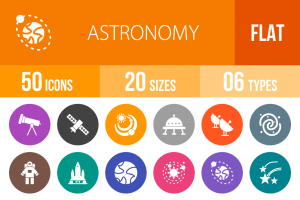 50 Astronomy Flat Round Icons - Overview - IconBunny