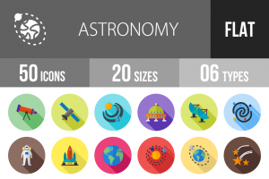 50 Astronomy Flat Shadowed Icons - Overview - IconBunny