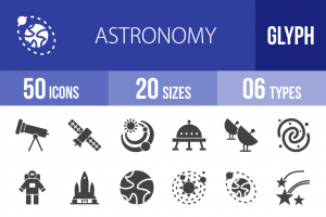 50 Astronomy Glyph Icons - Overview - IconBunny