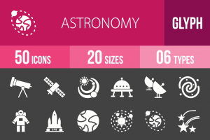 50 Astronomy Glyph Inverted Icons - Overview - IconBunny