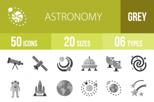 50 Astronomy Greyscale Icons - Overview - IconBunny
