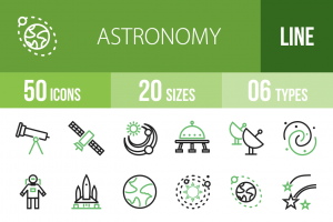 50 Astronomy Line Green Black Icons - Overview - IconBunny
