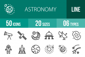50 Astronomy Line Icons - Overview - IconBunny