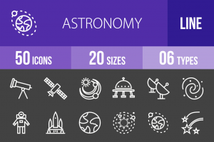 50 Astronomy Line Inverted Icons - Overview - IconBunny
