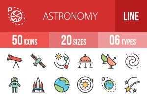 50 Astronomy Line Multicolor Filled Icons - Overview - IconBunny