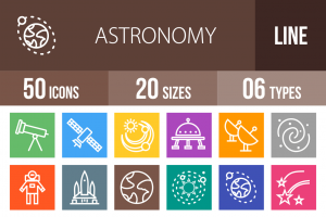 50 Astronomy Line Multicolor B/G Icons - Overview - IconBunny