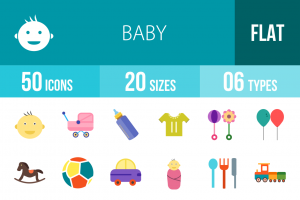 50 Baby Flat Multicolor Icons - Overview - IconBunny