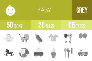 50 Baby Greyscale Icons - Overview - IconBunny
