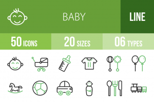 50 Baby Line Green Black Icons - Overview - IconBunny