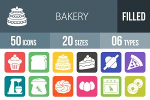 50 Bakery Flat Round Corner Icons - Overview - IconBunny