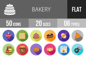50 Bakery Flat Shadowed Icons - Overview - IconBunny