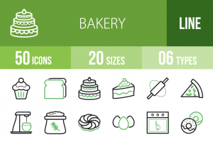 50 Bakery Line Green Black Icons - Overview - IconBunny