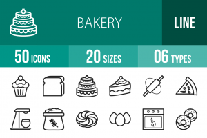 50 Bakery Line Icons - Overview - IconBunny